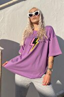 SwistLuxury Kadın Mor Şimşek Baskılı Bisiklet Yaka Tshirt
