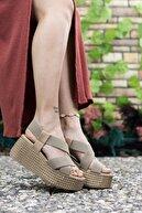 Riccon Kadın Vizon Yüksek Topuklu Sandalet 0012460