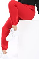 SARAMODEX Kadın Kırmızı Cepli Pamuklu Eşofman Altı