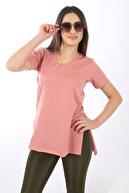 SARAMODEX Kadın Pudra V Yaka Düz Renk Basic T-Shirt
