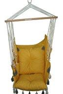 KEYİF SEPETİ Sandalye Salıncak Püsküllü Sarı Minderli
