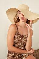 C City Kadın Hasır Plaj Şapkası Y1730-23 Açık Bej
