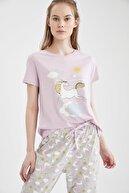 Defacto Kadın Gri Relax Fit Unicorn Baskılı Kısa Kol Pijama Takımı