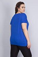 Şans Kadın Saks Taş Detaylı Düşük Kol Viskon Bluz 65N22724