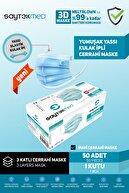 SAYTEKMED Meltblown Filtreli, Yassı Kulak Ipli, Buz Mavi Cerrahi Maske (50 Adet/1 Kutu)