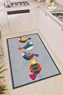 Viva Home Kaymaz Taban Papağanlı Modern Mutfak Halısı Ar317