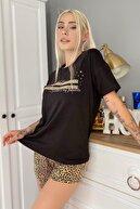 Pijamaevi Kadın Siyah Sparkle Baskılı Şortlu Pijama Takımı