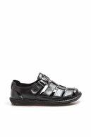 Fast Step Hakiki Deri Siyah Erkek Klasik Sandalet 819MA025