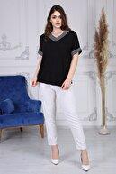 Gül Moda Kadın  Siyah Büyük Beden Kısa Kollu Simli Bluz G058-1
