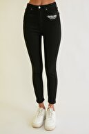 TRENDYOLMİLLA Siyah Baskılı Yüksek Bel Skinny Jeans TWOSS21JE0426