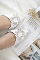 Straswans Kadın Beyaz Topuklu Taş Detay Sandalet