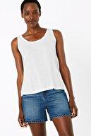 Marks & Spencer Kadın Beyaz Yuvarlak Yaka Relaxed Fit Atlet T41008995