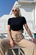 SwistLuxury Siyah Kısa Kol Çift Büzgülü Crop Bluz