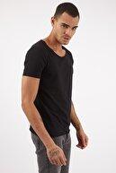 LAGOS Erkek Basic Siyah Geniş Yaka Pamuklu Tişört