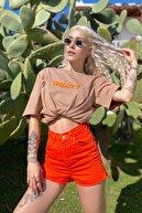 SwistLuxury Kadın Vizon What Baskılı Bisiklet Yaka Tshirt