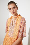 TRENDYOLMİLLA Çok Renkli Desen Bloklu Elbise TWOSS21EL0446