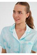 Suwen Kadın Mint Batik Desenli Şortlu Pijama Takımı