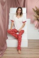 Siyah İnci Kadın Kırmızı Kısa Kollu Pamuklu Likralı Pijama Takım