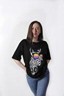 YELLOWSTONE BASİC Kadın Zebra Baskılı Oversize Siyah Tişört