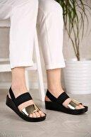 Ccway Kadın Altın Ayna Lastikli Sandalet