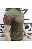 Silyon Askeri Giyim Taktik Pusu Tişörtü Taktik T-shirt Ve Türk Bayrağı Peç