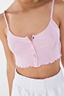 Bershka Kadın Pembe Çıtçıt Düğmeli Kenarı Kıvırcık Askılı Top 02201880