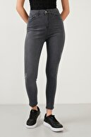Lela Kadın Gri Yüksek Bel Skinny Pamuklu Jeans Kot Pantolon 58713259