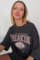 Addax Baskılı Oversize T-shirt P9555 - G4
