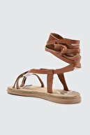 Trendyol Shoes Taba Hakiki Deri Bağlamalı Kadın Sandalet TAKSS21SD0029