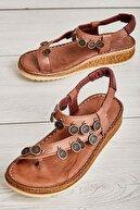 Bambi Hakiki Deri Vizon Kadın Sandalet K05809187203
