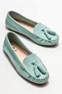 Elle Kadın Yeşil Deri Loafer Ayakkabı