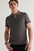 Avva Erkek Antrasit Polo Yaka Düz T-shirt E001004