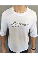 kare magaza Beyaz Erkek Oversize Baskılı Kısa Kollu T-shirt