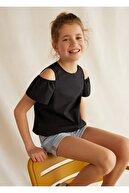 Mango Kız Çocuk Siyah Omuzları Açık Organik Pamuklu Gömlek