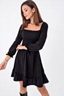 By Saygı Kadın Siyah Önü Büzgülü Gipeli Volanlı Elbise S-21K3500007