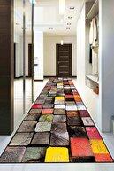 Viva Home Kesme Jel Taban Rulo Yolluk 3d Renkli Kütükler Ar299