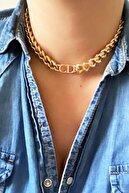 X-Lady Accessories Kadın Gold Cd Harfli Christian Dio Model Kalın Zincir Kolye