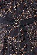 Zühre Leopar Çizgili Kemer Detaylı Siyah Tunik T-0809
