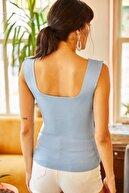 Kırçiçek Kalın Askılı Kare Yaka Yazlık Crop Bluz - Bebe Mavi