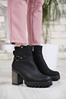 Ccway Kadın Siyah Zümrüt Halka Tokalı Yüksek Topuklu Bot