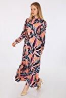 Bigdart Kadın Pembe Egzotik Desen Elbise 2158