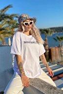 SwistLuxury Kadın Beyaz Minimalist Baskılı Bisiklet Yaka Tshirt