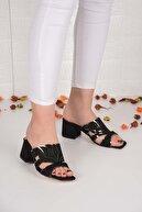 Weynes Kadın Siyah  Koyu Çiçekli Taşlı Sandalet Terlik Ba20466