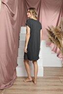 Siyah İnci Kadın Gri Kısa Kollu Pamuklu Likralı Elbise