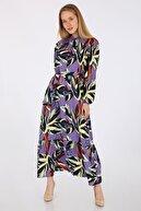 Bigdart Kadın Lila Egzotik Desen Elbise 2158