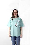 YELLOWSTONE BASİC Kadın Panda Baskılı Oversize Turkuaz Tişört