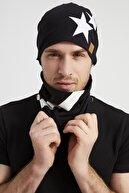 Butikgiz Erkek Siyah, Beyaz Yıldızlı Şampiyon, Ipli 4 Mevsim Şapka Bere Boyunluk -yumuşak Doğal Penye