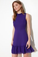 TRENDYOLMİLLA Mor Fırfırlı Elbise TWOSS20EL0237