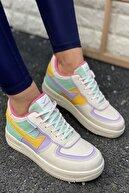 İnan Ayakkabı Kadın Beyaz&Lila&Sarı Spor Ayakkabı&Sneaker INA100