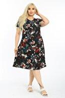 LİKRA Kadın Siyah Yaprak Desen Esnek Örme Krep Elbise